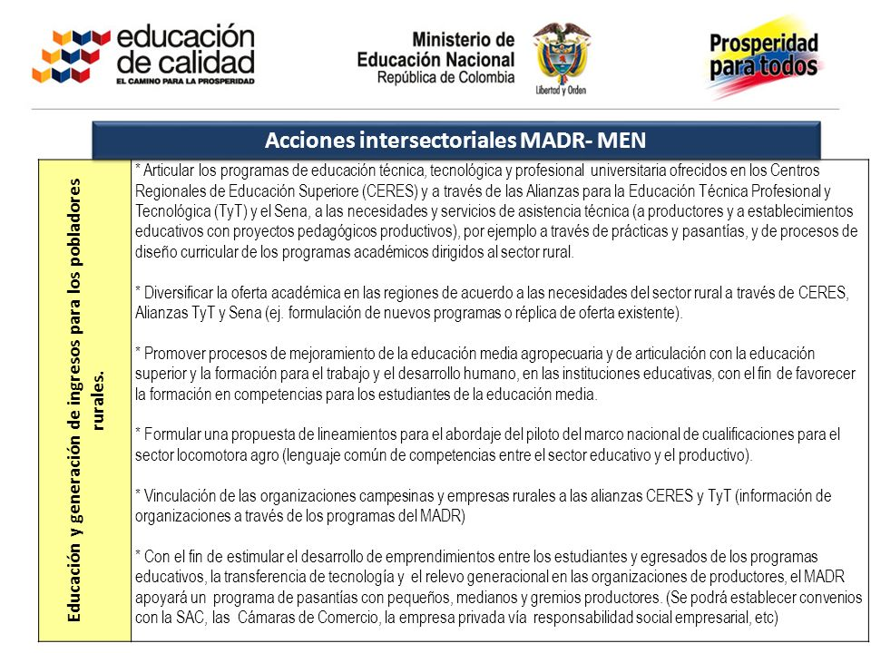 Acciones intersectoriales MADR- MEN