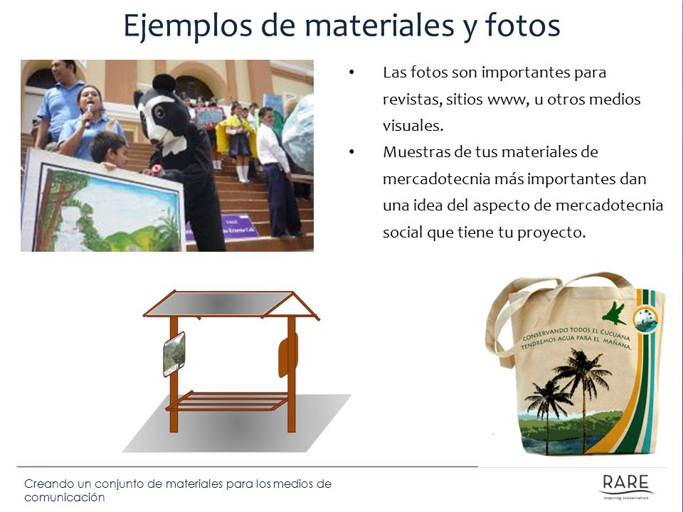 Ejemplos de materiales y fotos