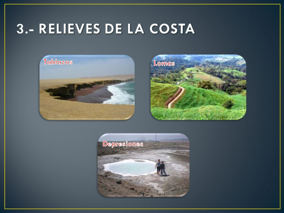 3.- RELIEVES DE LA COSTA Tablazos Lomas Depresiones