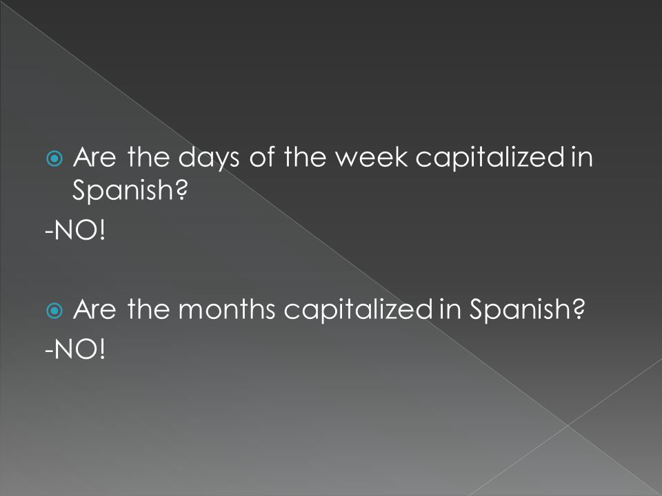 Are the days of the week capitalized in Spanish