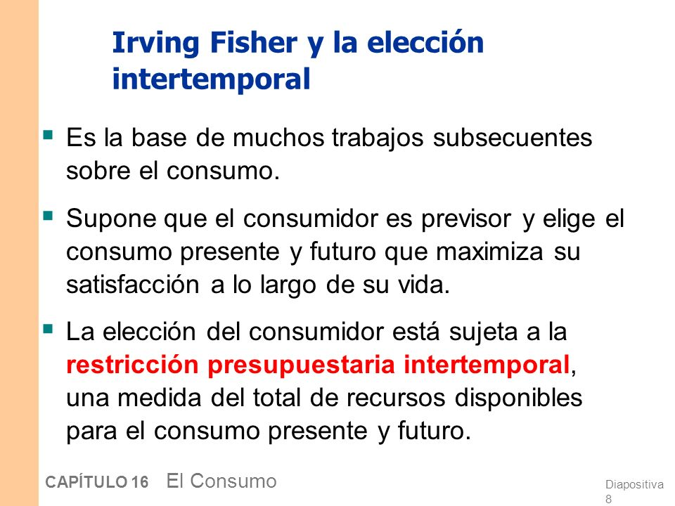 Irving Fisher y la elección intertemporal