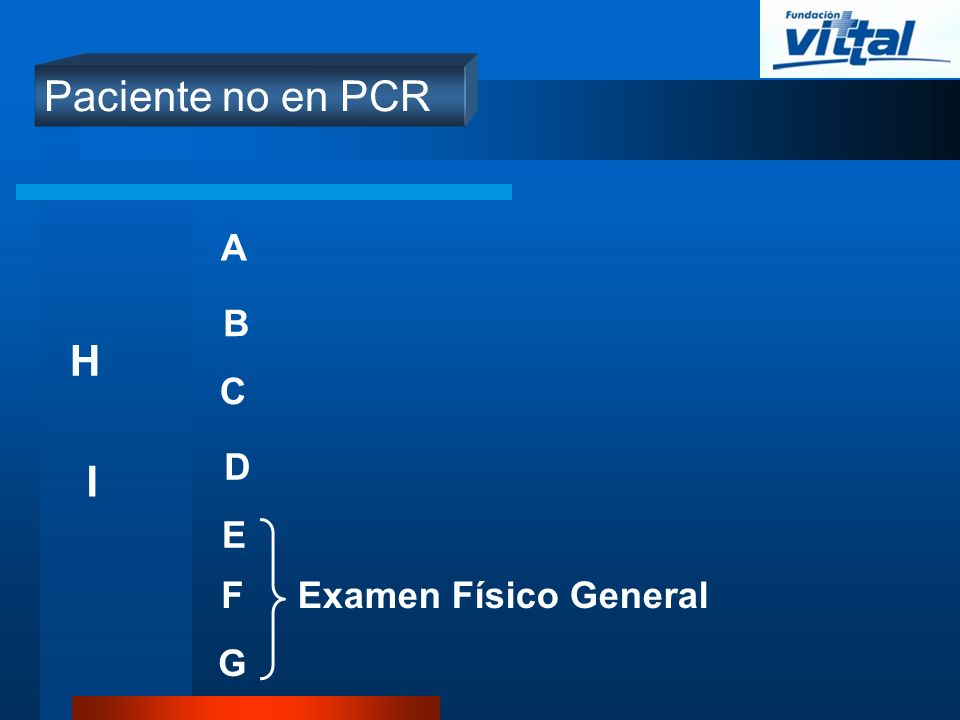 Paciente no en PCR A B H C D I E F Examen Físico General G