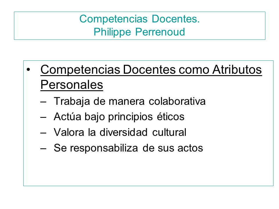 Competencias Docentes. Philippe Perrenoud