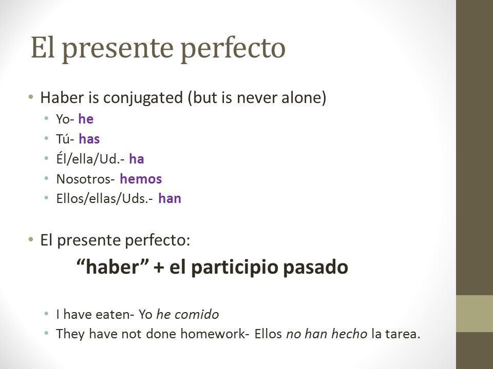 El presente perfecto Haber is conjugated (but is never alone)