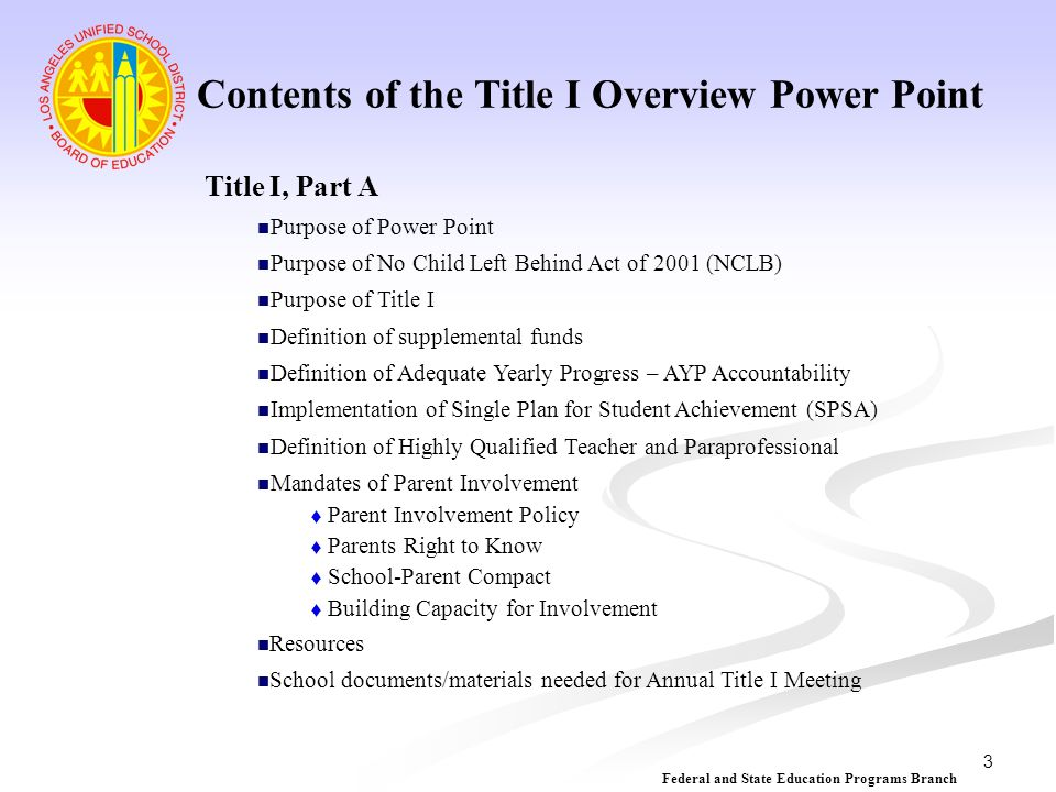 Contents of the Title I Overview Power Point