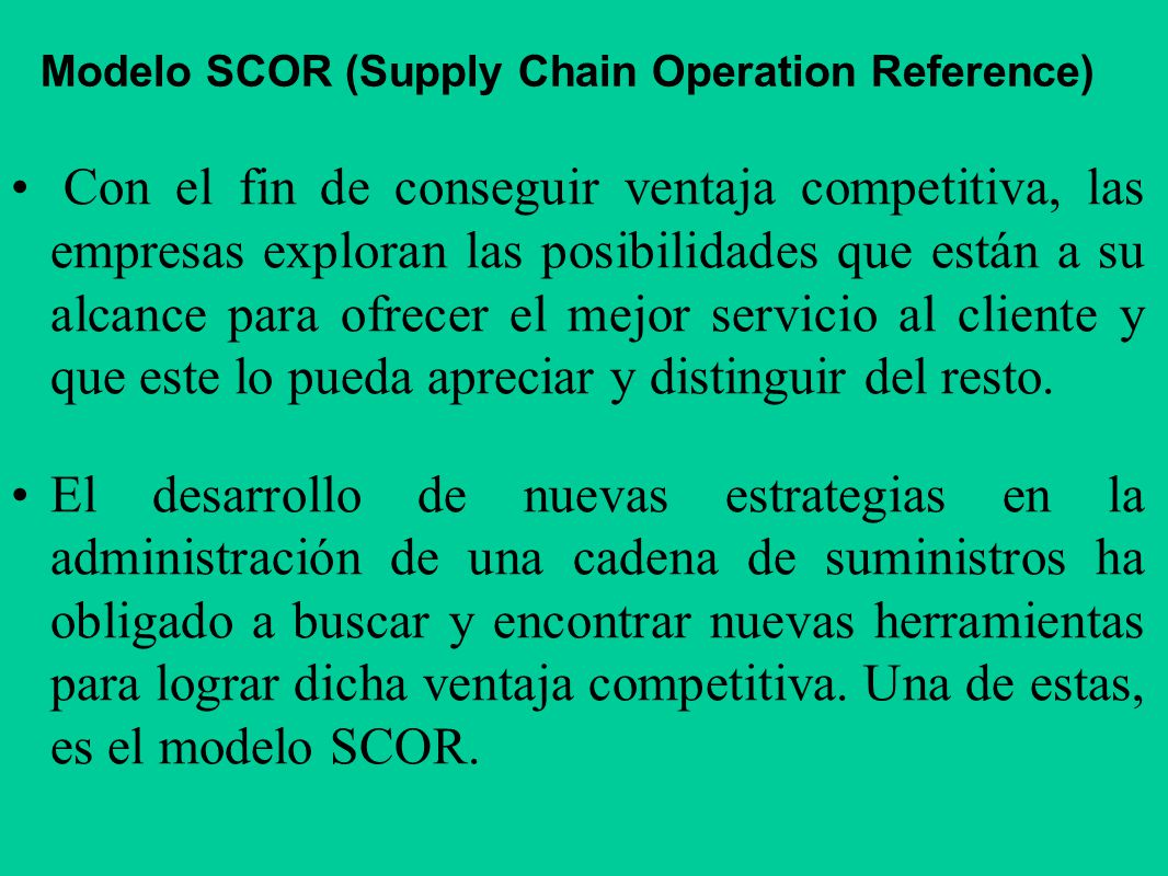 Modelo SCOR (Supply Chain Operation Reference)