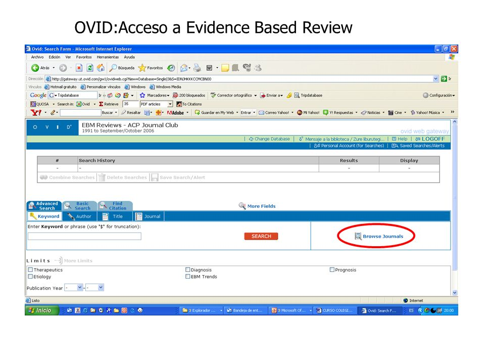 OVID:Acceso a Evidence Based Review