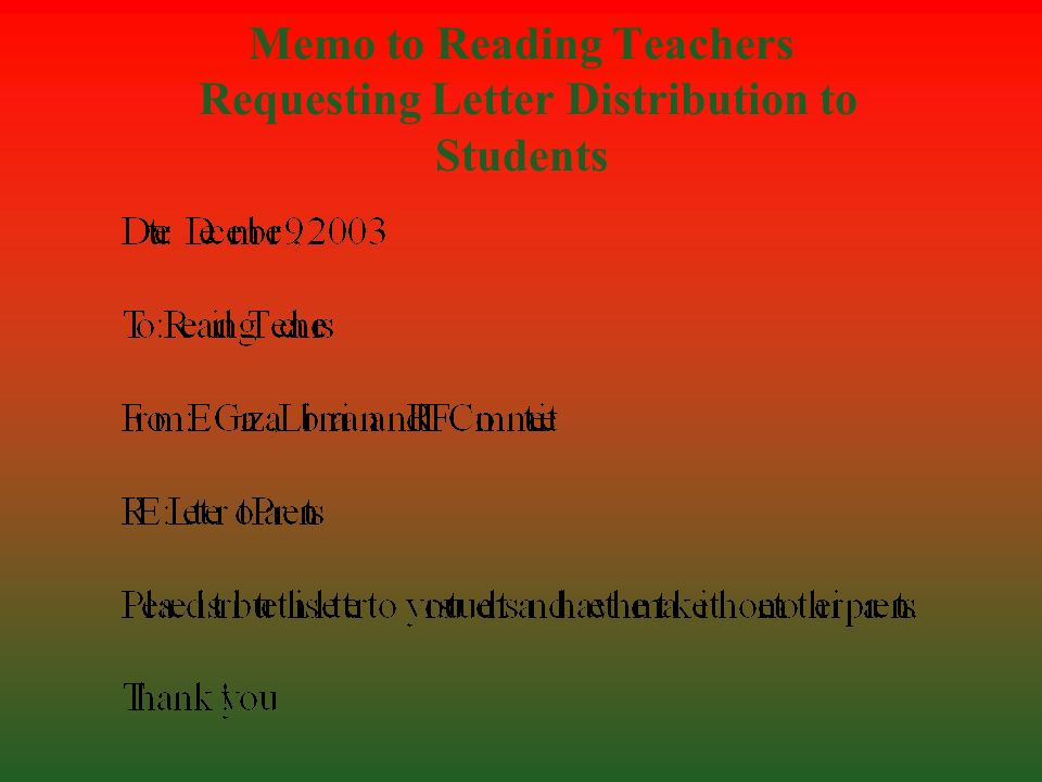 Memo to Reading Teachers Requesting Letter Distribution to Students