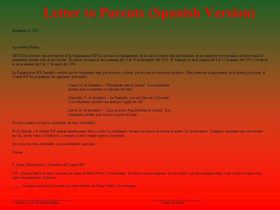 Letter to Parents (Spanish Version)