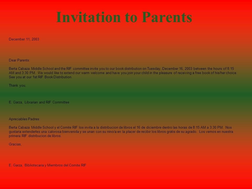 Invitation to Parents December 11, 2003 Dear Parents: