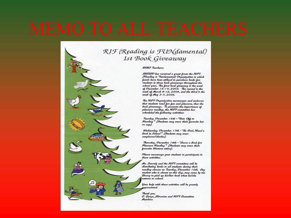 MEMO TO ALL TEACHERS
