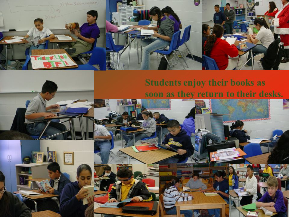 Students enjoy their books as soon as they return to their desks.