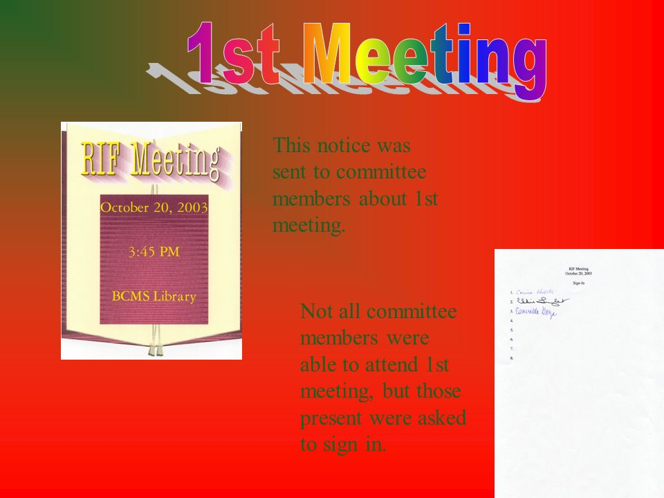 1st Meeting This notice was sent to committee members about 1st meeting.