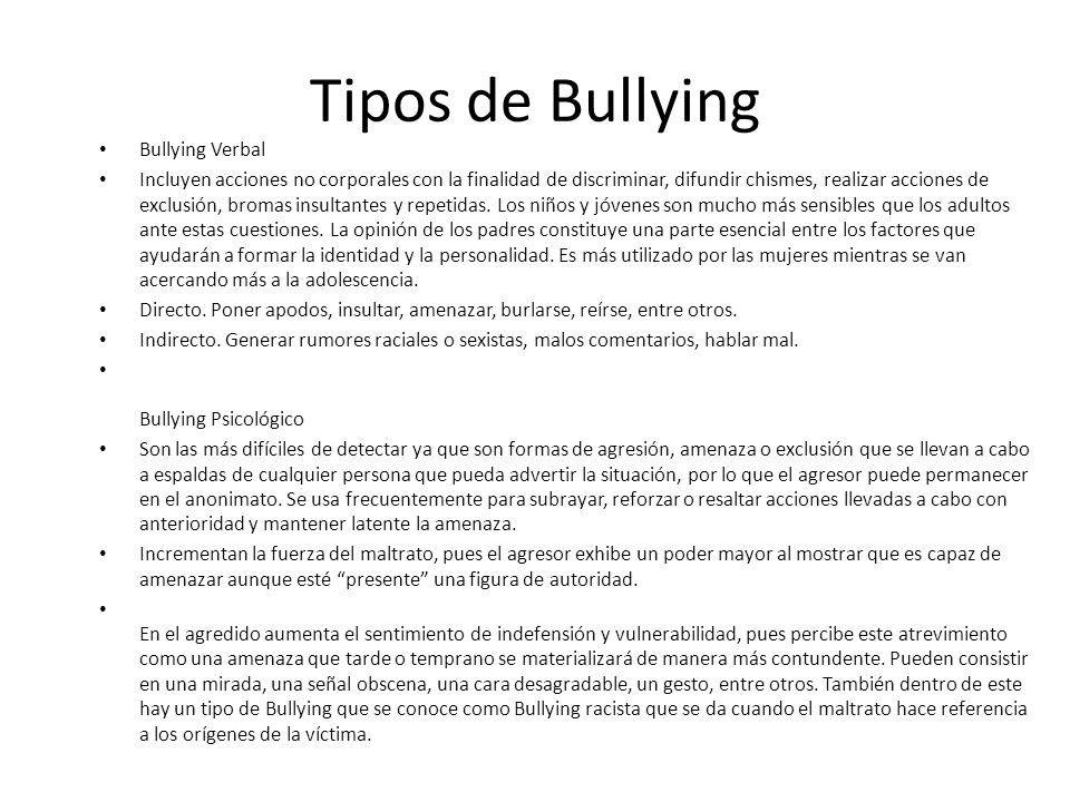 Tipos de Bullying Bullying Verbal