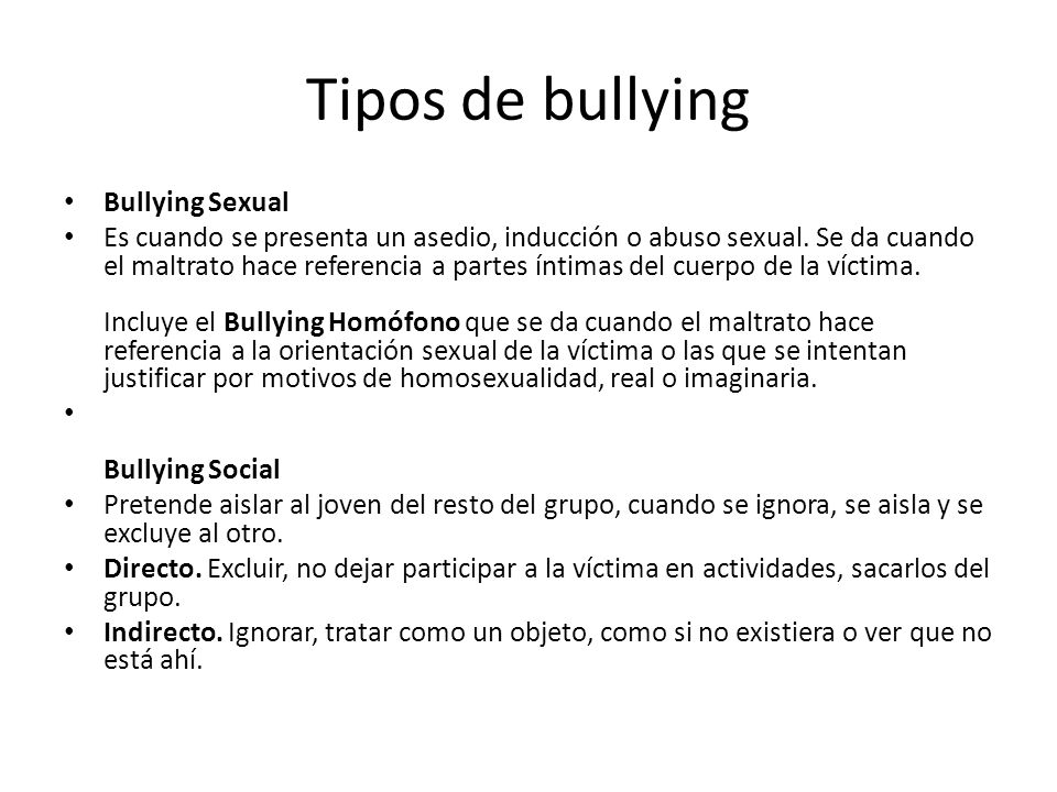 Tipos de bullying Bullying Sexual