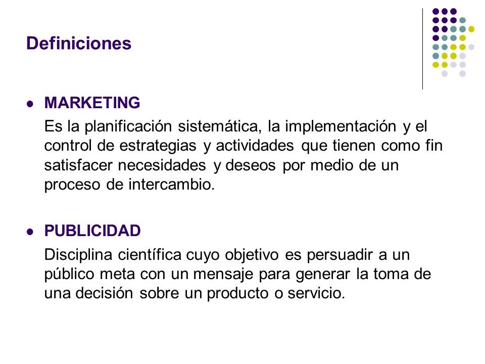 Definiciones MARKETING