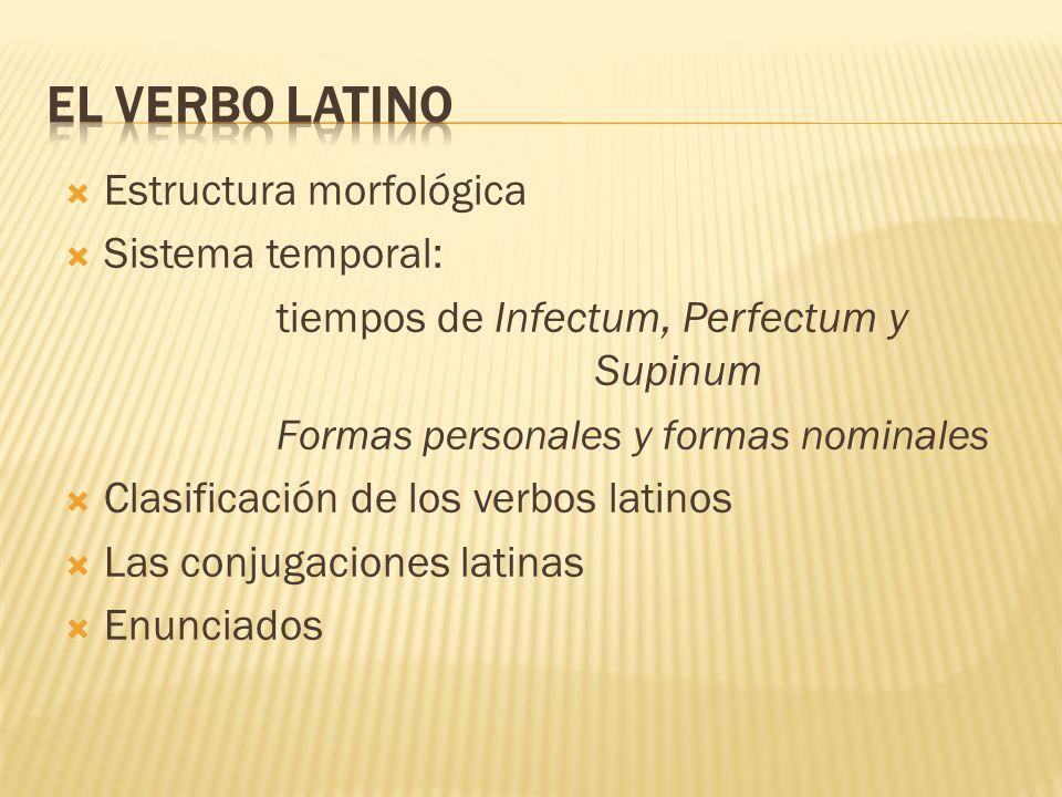 El Verbo Latino Estructura Morfológica Sistema Temporal
