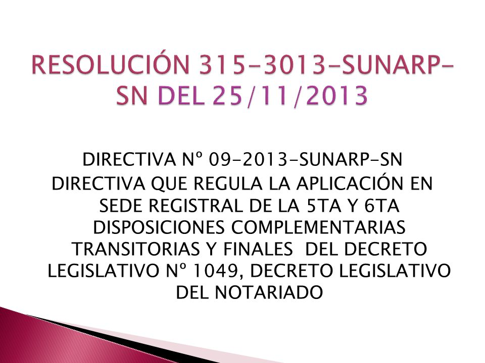 RESOLUCIÓN SUNARP-SN DEL 25/11/2013