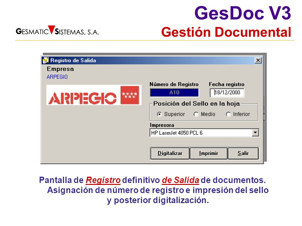 Pantalla de Registro definitivo de Salida de documentos