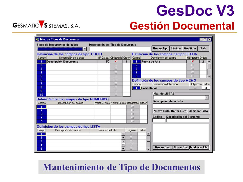 Mantenimiento de Tipo de Documentos
