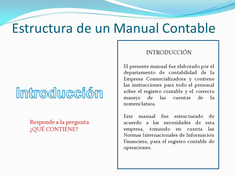 La Nomenclatura De Cuentas Y El Manual Contable De Una
