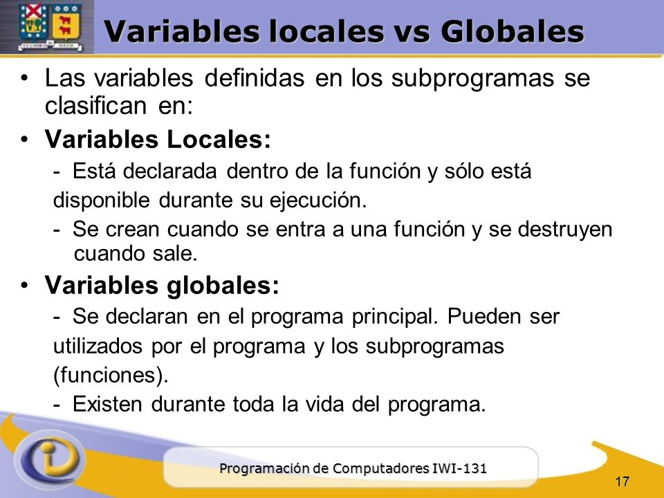 Variables locales vs Globales