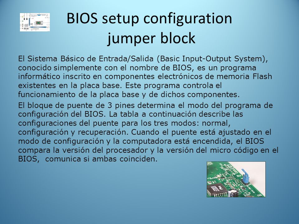 BIOS setup configuration jumper block