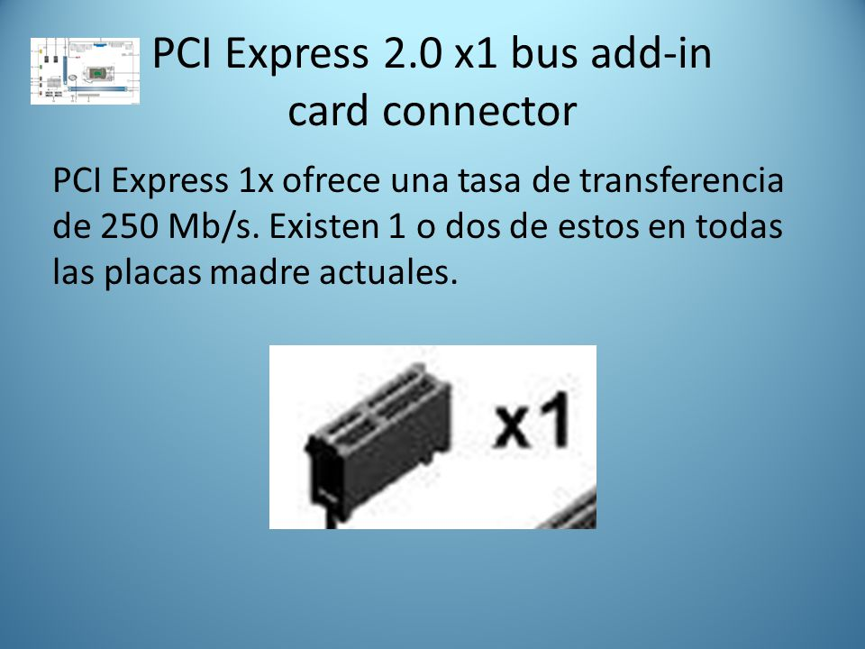 PCI Express 2.0 x1 bus add-in card connector