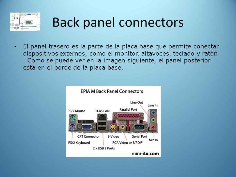 Back panel connectors