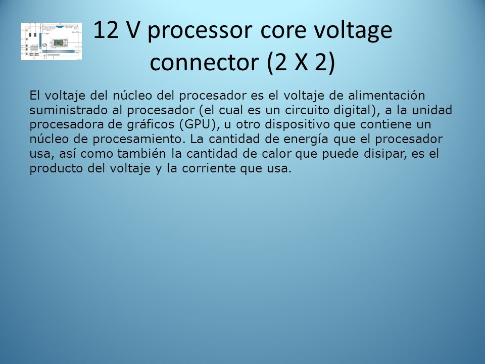 12 V processor core voltage connector (2 X 2)