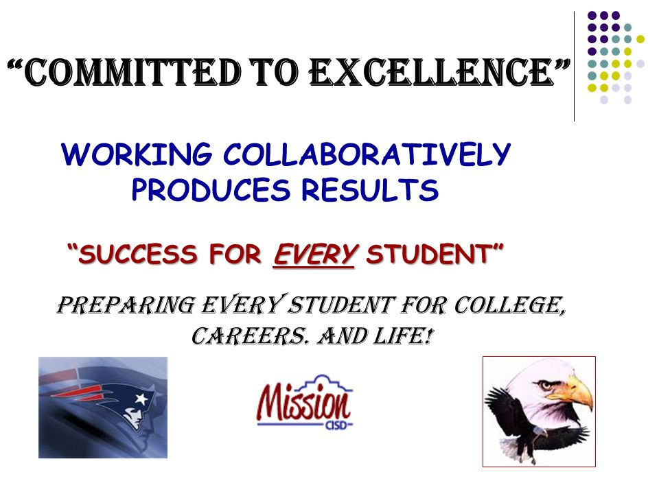 WORKING COLLABORATIVELY PRODUCES RESULTS SUCCESS FOR EVERY STUDENT