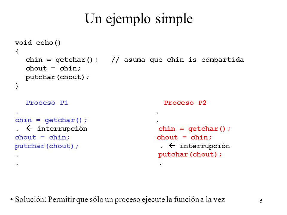 Un ejemplo simple void echo() { chin = getchar(); // asuma que chin is compartida. chout = chin;