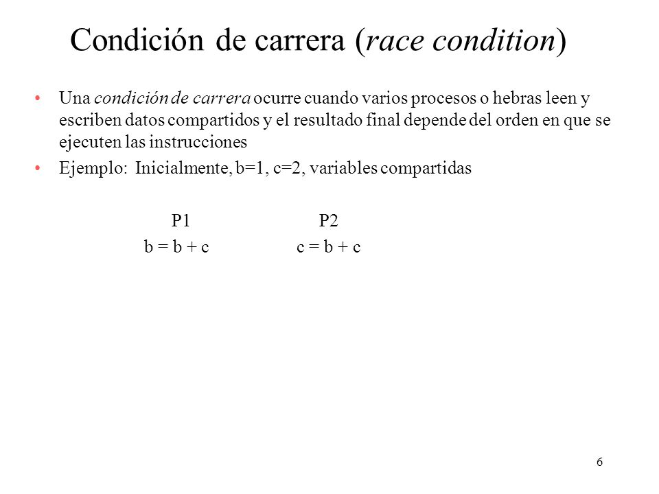 Condición de carrera (race condition)