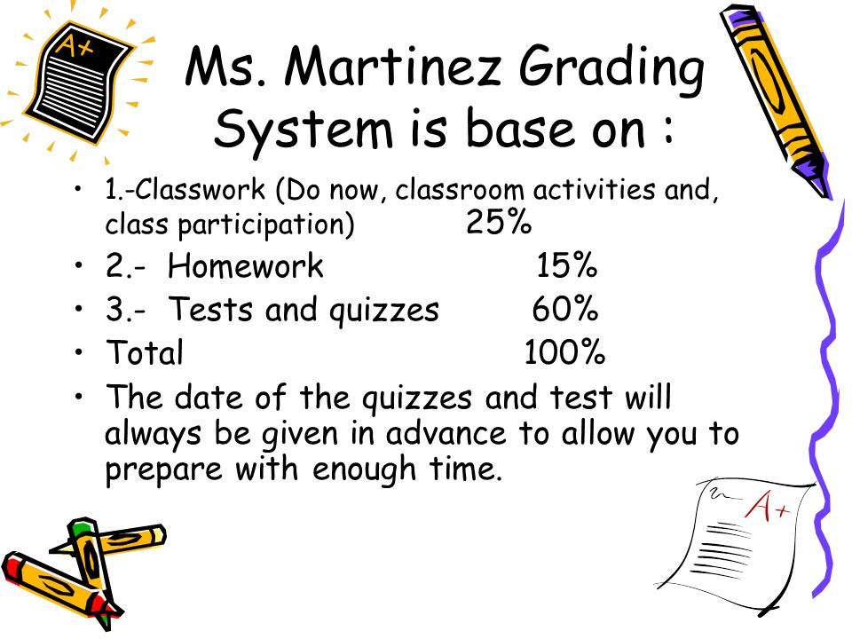 Ms. Martinez Grading System is base on :
