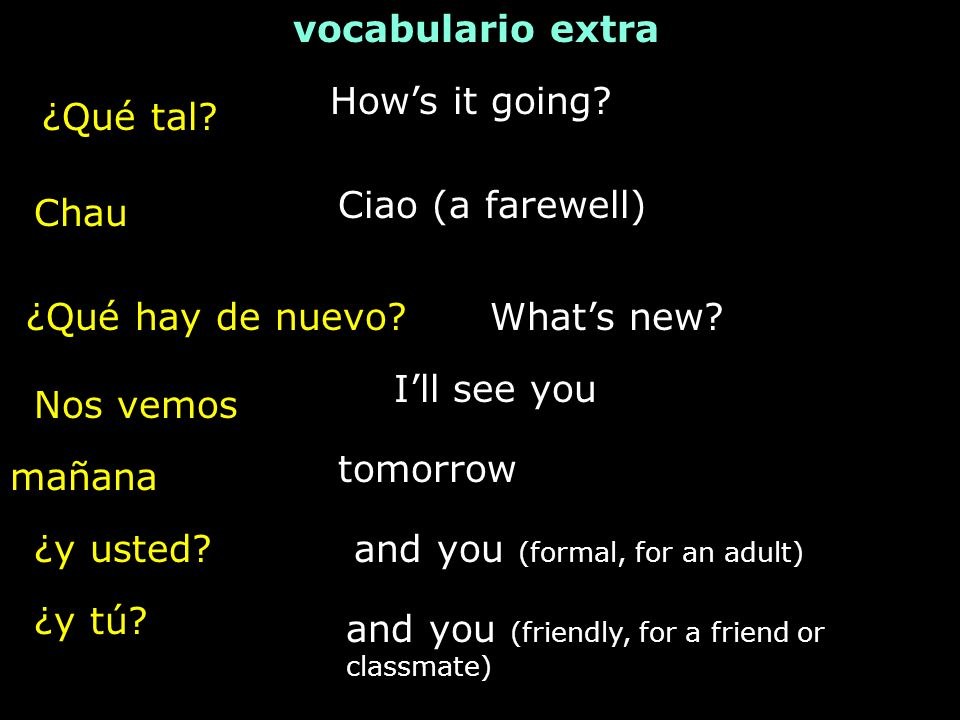 vocabulario extra How's it going ¿Qué tal Ciao (a farewell) Chau. ¿Qué hay de nuevo What's new