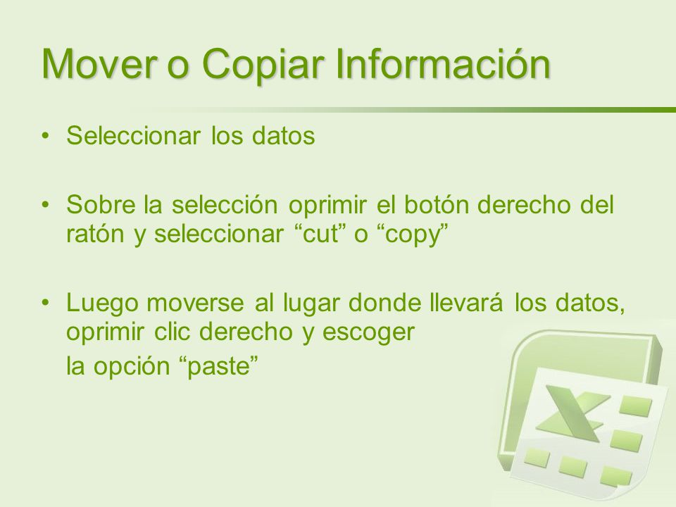Mover o Copiar Información