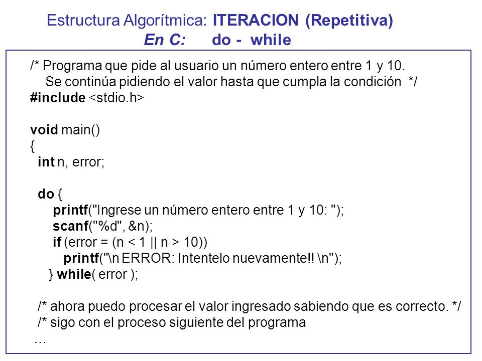 Estructuras De Iteracion Repetitivas While For Do