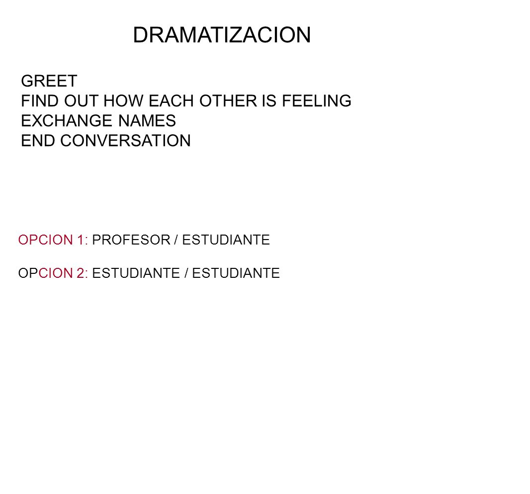 DRAMATIZACION GREET FIND OUT HOW EACH OTHER IS FEELING EXCHANGE NAMES