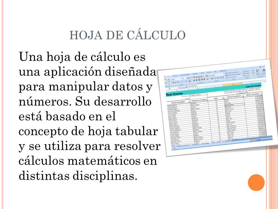 HOJA DE CÁLCULO Una hoja de cálculo es una aplicación diseñada para ...