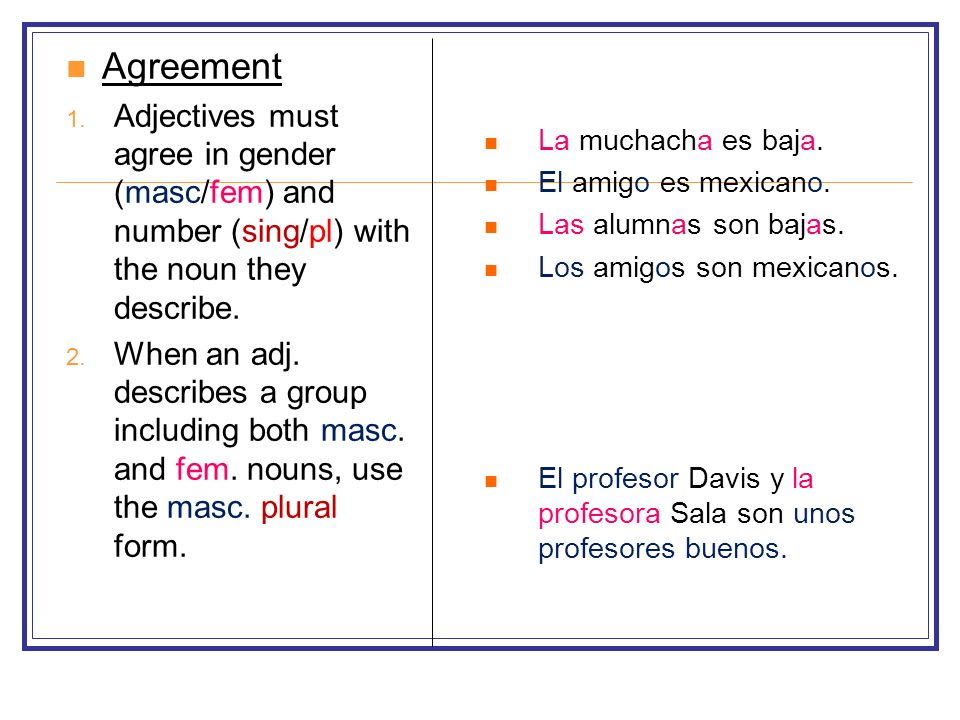 Agreement Adjectives must agree in gender (masc/fem) and number (sing/pl) with the noun they describe.