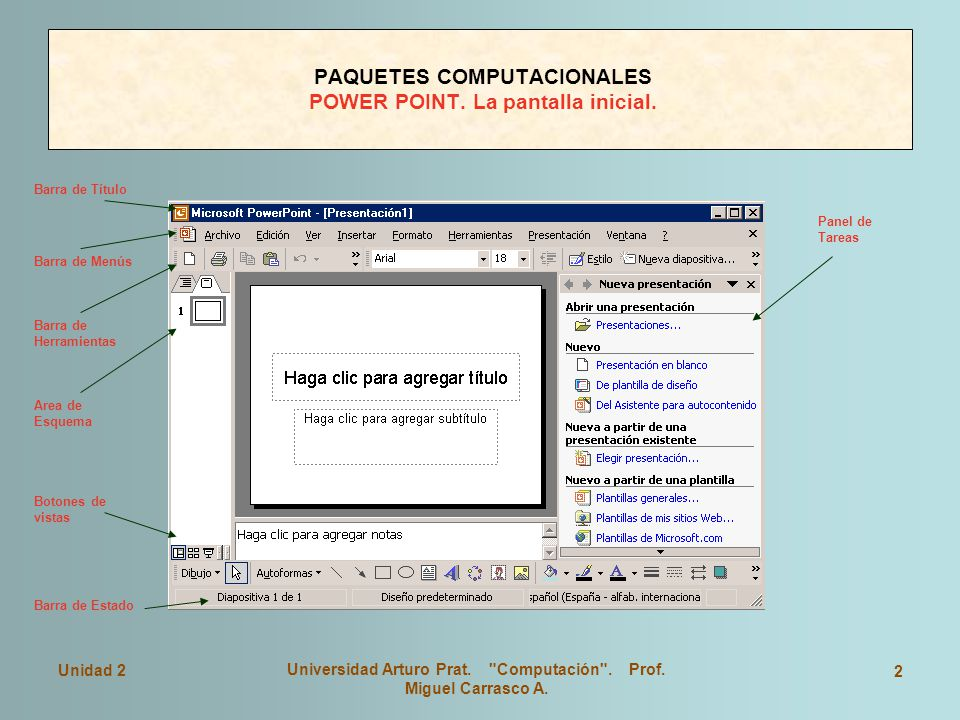 PAQUETES COMPUTACIONALES POWER POINT. La pantalla inicial.