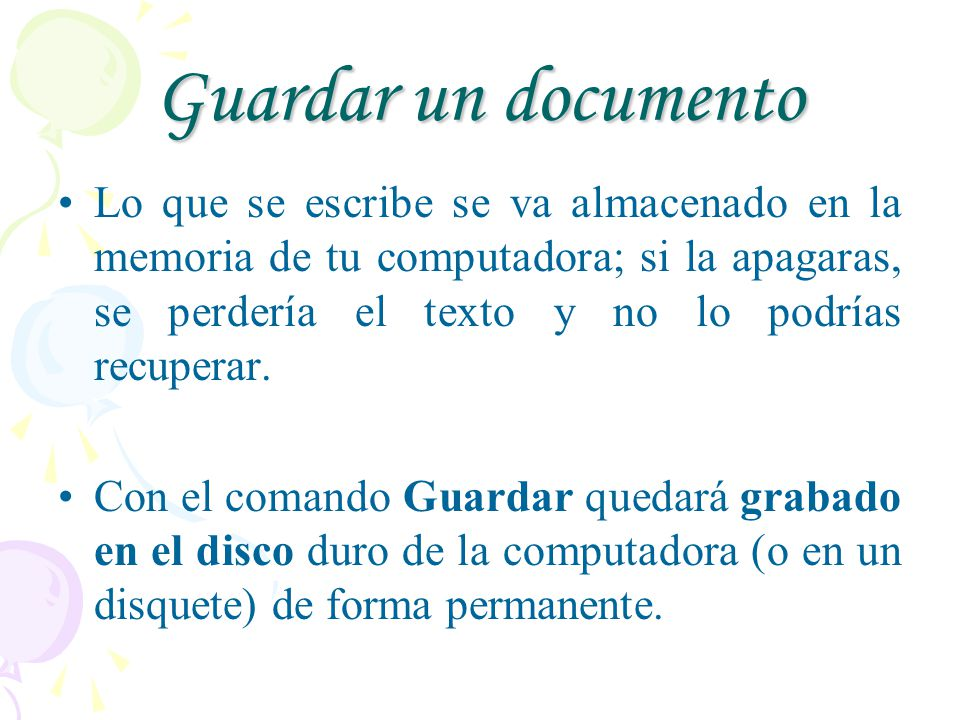 Guardar un documento