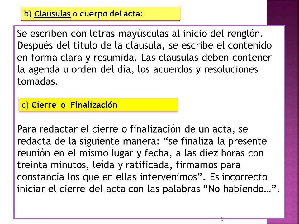 b clausulas o cuerpo del acta
