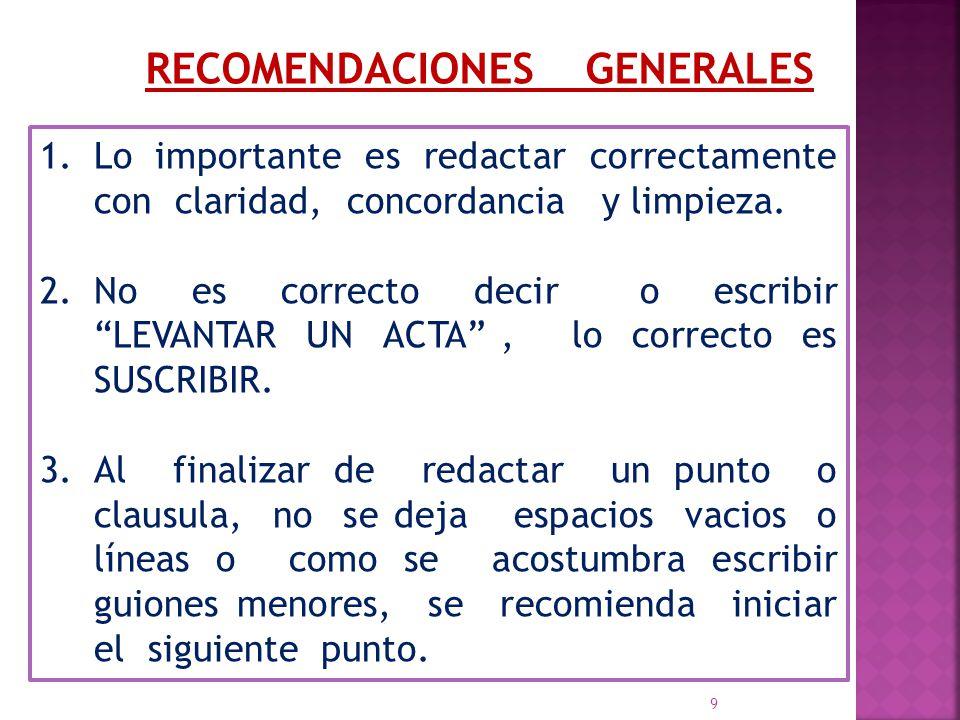 9 recomendaciones generales