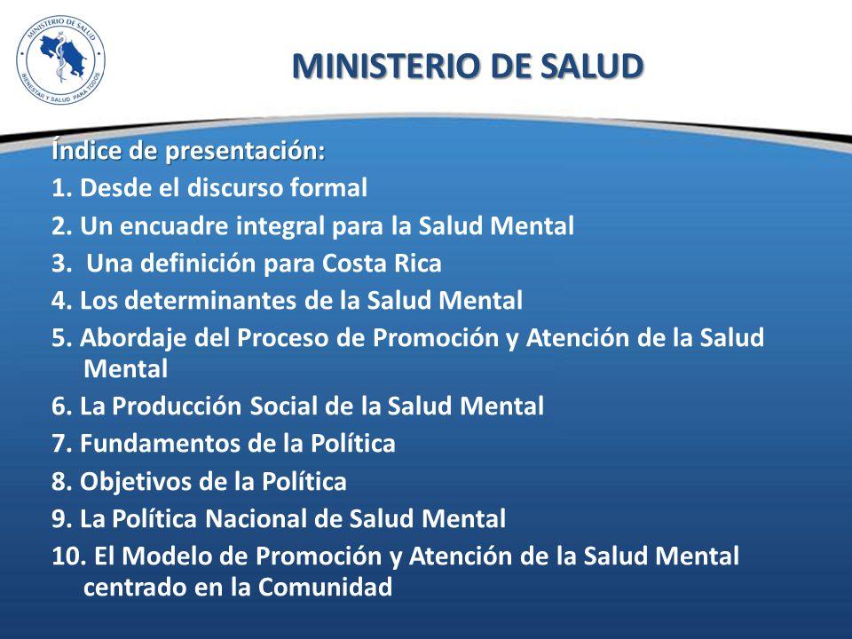 POLÍTICA NACIONAL DE SALUD MENTAL MINISTERIO DE SALUD - ppt descargar