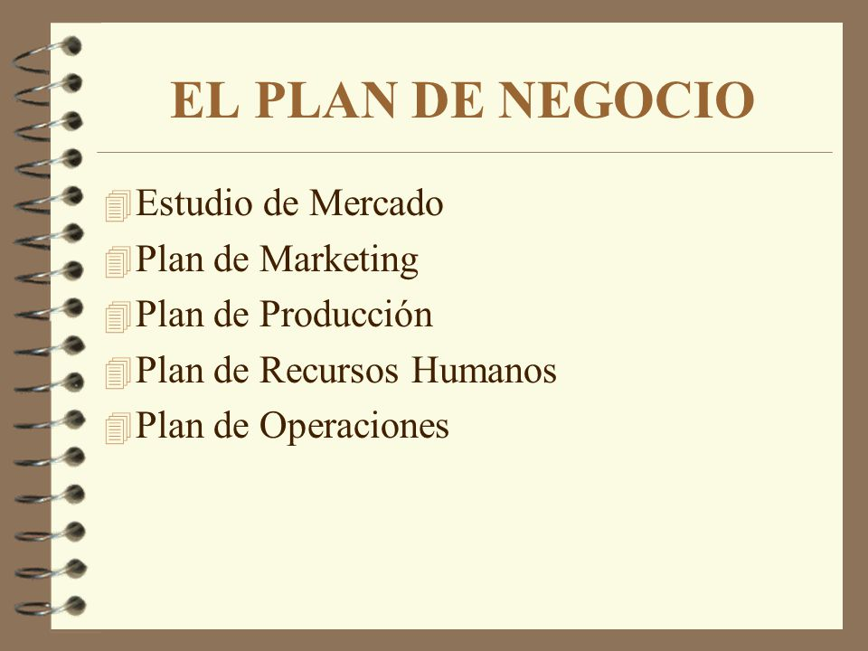 EL PLAN DE NEGOCIO Estudio de Mercado Plan de Marketing
