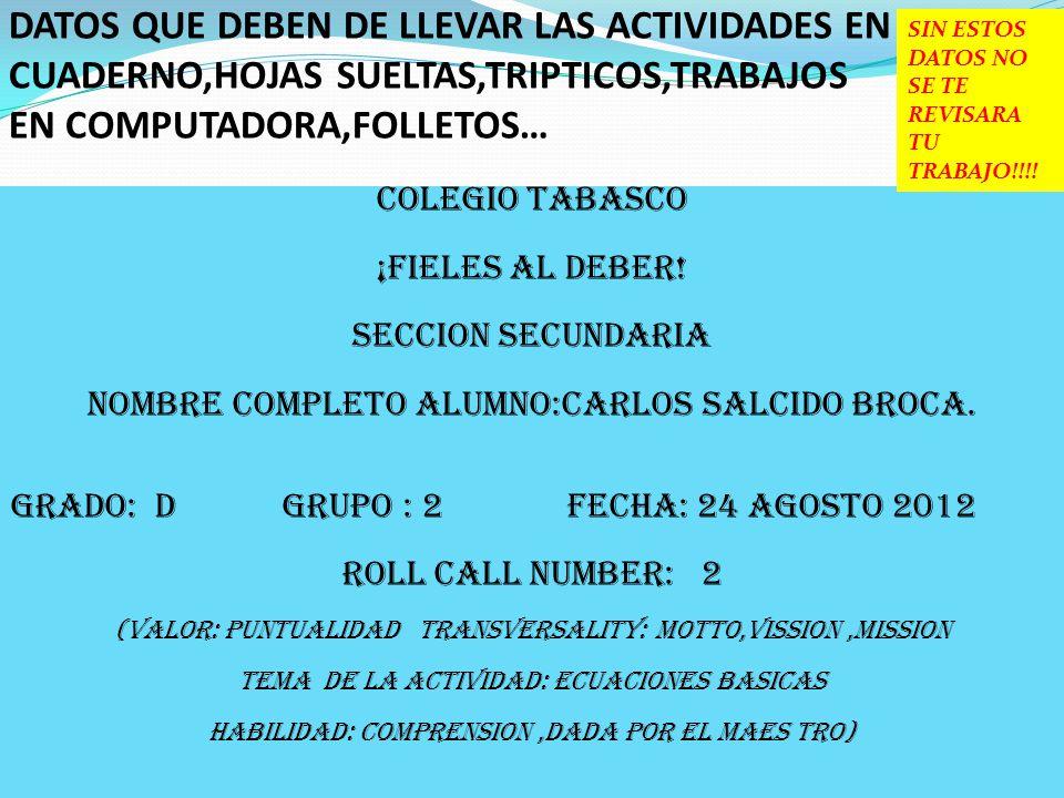 COLEGIO TABASCO ¡FIELES AL DEBER - ppt descargar