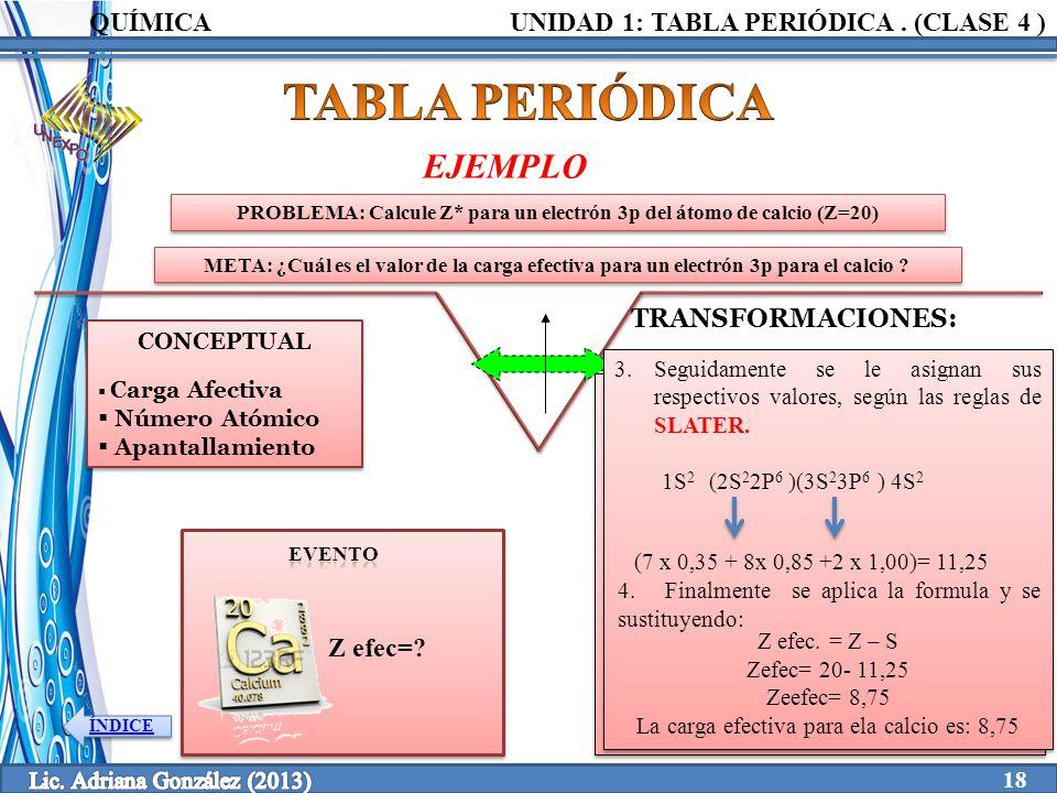 Clase 4 1 tabla peridica unidad elaborado por ppt video online problema calcule z para un electrn 3p del tomo de calcio z 19 propiedades peridicas urtaz Images