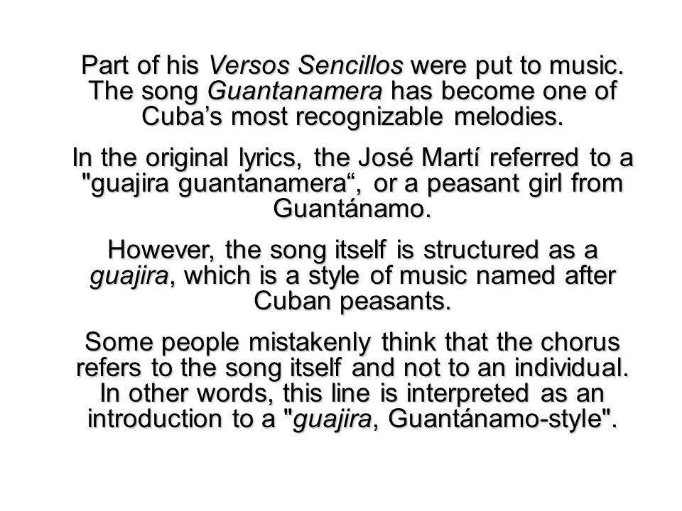 Lyric guantanamera lyrics : Versos Sencillos por José Martí (1853 – 1895). - ppt video online ...
