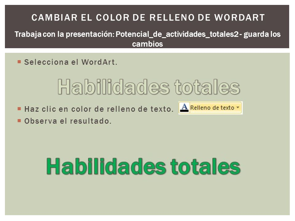 Cambiar el color de relleno de WordArt